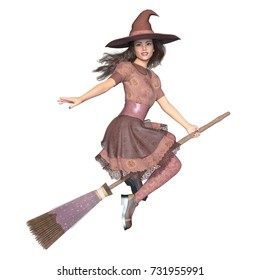 3D CG rendering of a witch costume woman