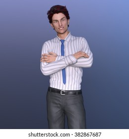 3D CG rendering of a young man