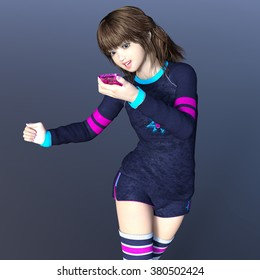 3D CG rendering of a young woman