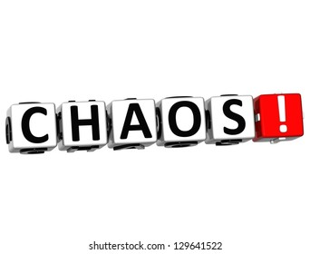 3D Chaos Button Click Here Block Text over white background