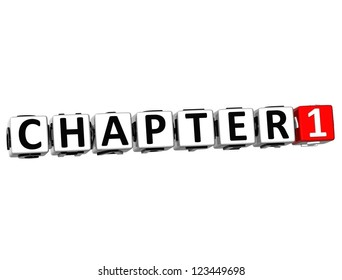 3D Chapter Button Click Here Block Text over white background