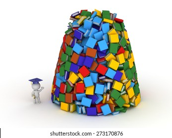 3D Character with Diploma Showing Huge Pile of Books