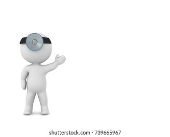3D character with doctors light showing something. Isolated on white background.