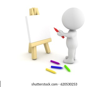 3D Character drawing on an easel. This image depicts the occupation of a visual artist.