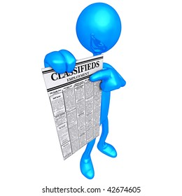 3D Character With Employment Classifieds