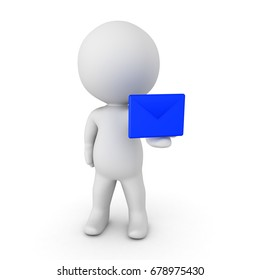 3D Character handing out blue e-mail envelope. Isolated on white.