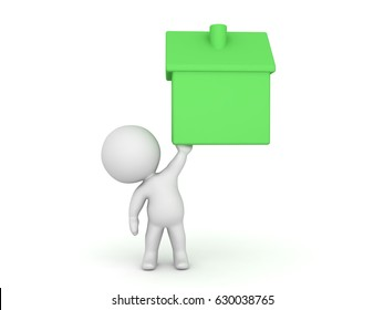 3D Character holding up an icon of a green colored home. Image can be used in a real estate context.