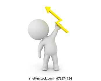 3D Character holding a lightning bolt in his hand. Isolated on white.
