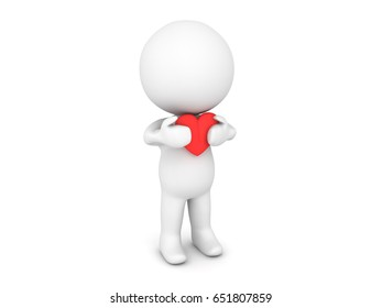 3D Character holding red cartoon heart close to his chest. Image could convey being needy or cherishing love.