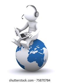 3d character with laptop sitting on the globe. Rendered on white background