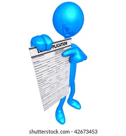 3D Character With Loan Application