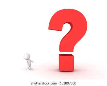 3D Character looking up at big question mark symbol.  Image conveying the idea of a mystery or an investigation or an query.
