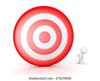 3D Character Looking Up at Huge Target