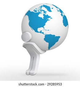 3d character man carrying earth globe with America map
