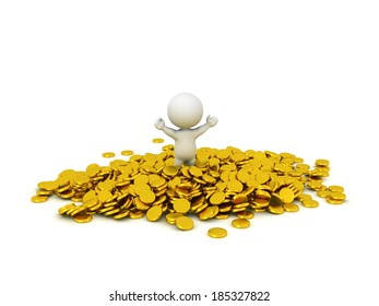 3D Character in pile of Gold Coins