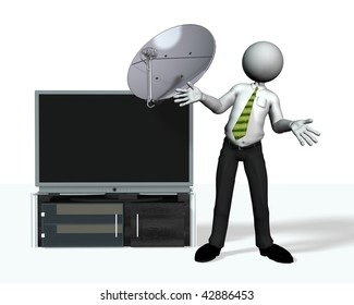 a 3d character plus tv plasma with a satellite dish