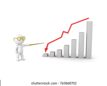 3D Character pointing at graph showing decline. Isolated on white.