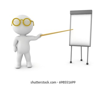 3D Character pointing on a small whiteboard. Isolated on white.