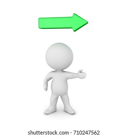 3D Character pointing in the right direction and a green arrow above. Isolated on white.