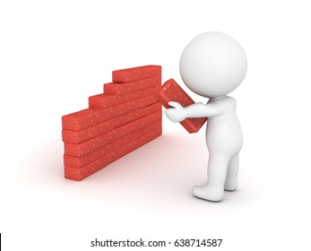 3D Character puts another brick in the wall. Image can convey building something or building barriers.
