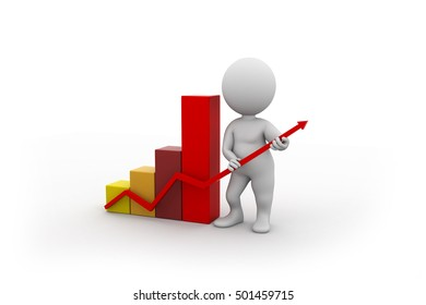 3D character showing economical growth graph.
