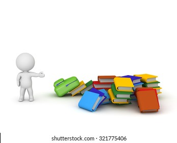 3D character showing a pile of colorful books and a schoolbag. Isolated on white background.