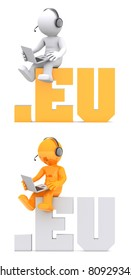 3d character sitting on .EU domain sign.
