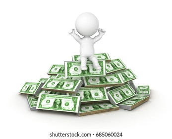 3D Character sitting on top of a pile of cash. Isolated on white.