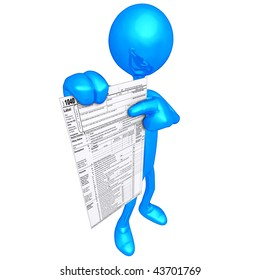 3D Character With Tax Form