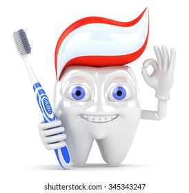 3d character tooth with toothbrush