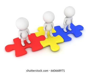 3D Characters sitting on red yellow and blue puzzle pieces. Isolated on white background.