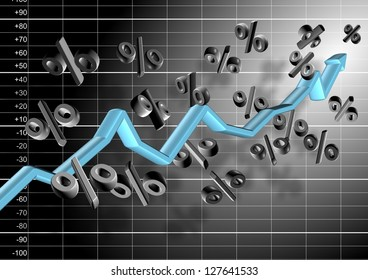 3d chart arrow and percentage symbols hovering in the air in front of black and white graph / Chart and percentage