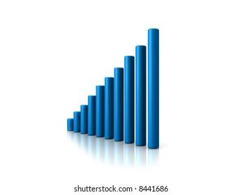 3d chart blue