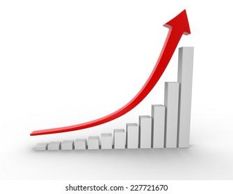 3d chart financial. Success.