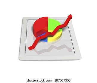 3D chart on tablet isolated in white background