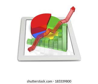 3D Chart on tablet in white background