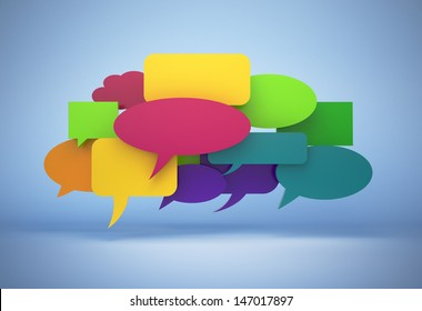 3D chat bubbles isolated with clipping path
