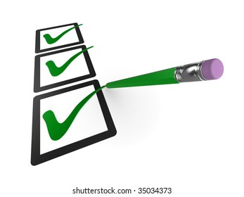3d checklist illustration, isolated on a white background