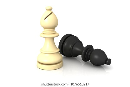 3D Chess defeat Concept on a white background