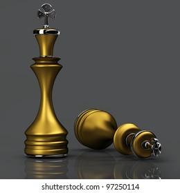 3d Chess golden King. High resolution.