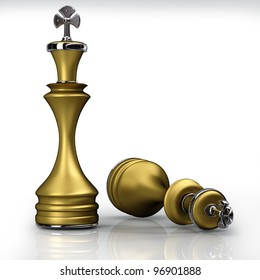 3d Chess golden King isolated on white background. High resolution.