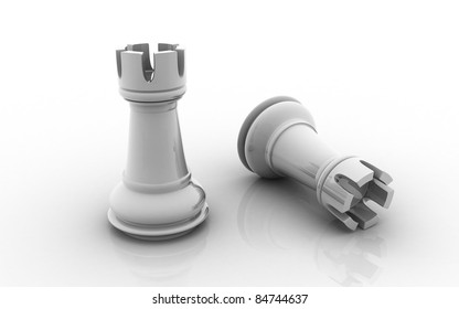 3D chess rook isolated on a white background