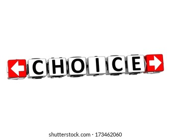 3D Choice Button Click Here Block Text over white background