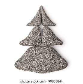 3d chrismas tree made of granite spa stones