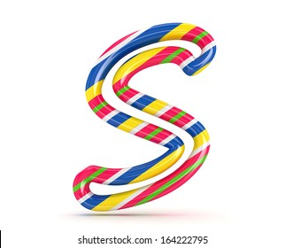 3D Christmas candy alphabet isolated