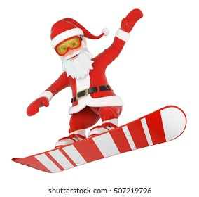 3d christmas people illustration. Santa Claus snowboarding jumping. Isolated white background.
