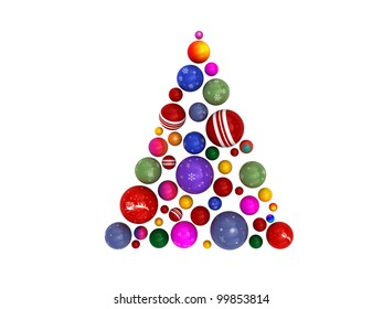 3D Christmas tree made of colorful globes