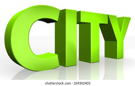 3D city text on white background