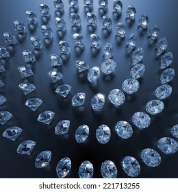 3d clear shiny brilliants and diamonds spiral on blue background