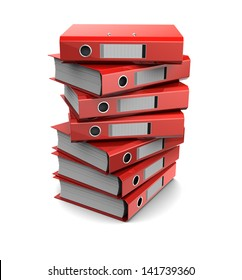 3d clipart of pile of red binder folders isolated on white background